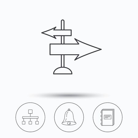 jerarqu�a: Book, hierarchy and direction arrows icons. Alarm bell linear sign. Linear icons in circle buttons. Flat web symbols. Vector