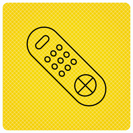 switching: Remote control icon. TV switching channels sign. Linear icon on orange background. Vector