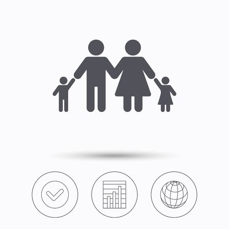 father and child: Family icon. Father, mother and child symbol. Check tick, graph chart and internet globe. Linear icons on white background. Vector