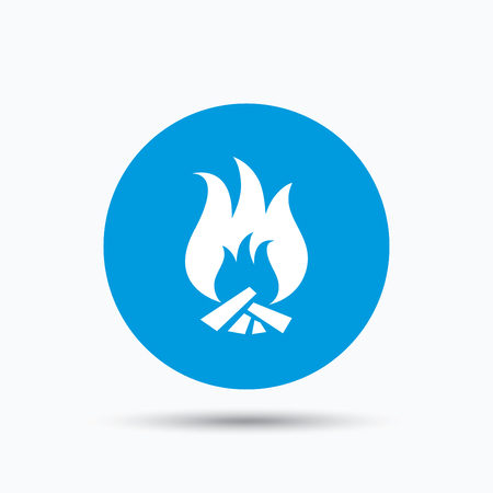 blue flame: Fire icon. Blazing bonfire flame symbol. Blue circle button with flat web icon. Vector