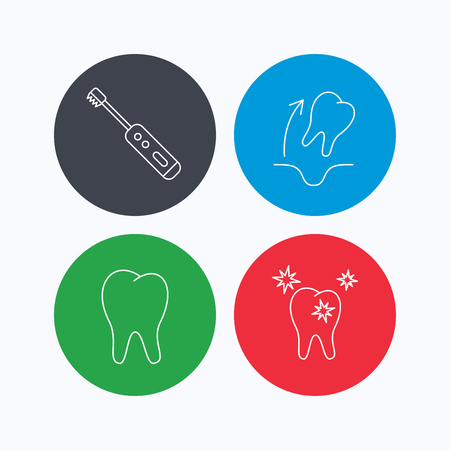 paradontosis: Tooth extraction, electric toothbrush icons. Healthy teeth linear sign. Linear icons on colored buttons. Flat web symbols. Vector Illustration