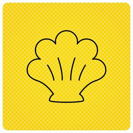 mollusk: Sea shell icon. Seashell sign. Mollusk shell symbol. Linear icon on orange background. Vector Illustration