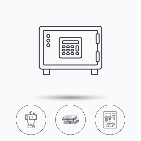 give money: Give money, cash money and ATM icons. Safe box linear sign. Linear icons in circle buttons. Flat web symbols. Vector