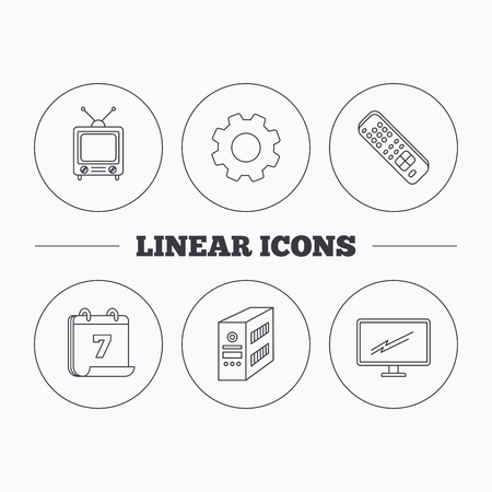pc case: Retro TV, PC case and monitor icons. TV remote linear sign. Flat cogwheel and calendar symbols. Linear icons in circle buttons. Vector Illustration