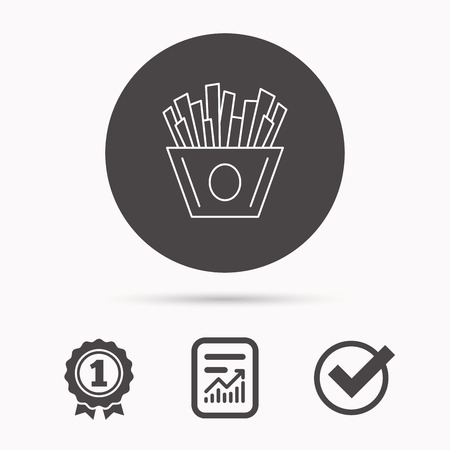 fried potatoes: Chips icon. Fries fast food sign. Fried potatoes symbol. Report document, winner award and tick. Round circle button with icon. Vector