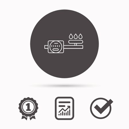 gas meter: Gas counter icon. Pipe with fire sign. Report document, winner award and tick. Round circle button with icon. Vector