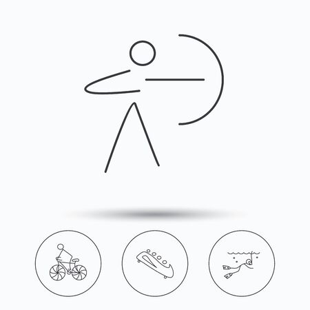 bobsled: Diving, biking and archery icons. Bobsled linear sign. Linear icons in circle buttons. Flat web symbols. Vector Illustration