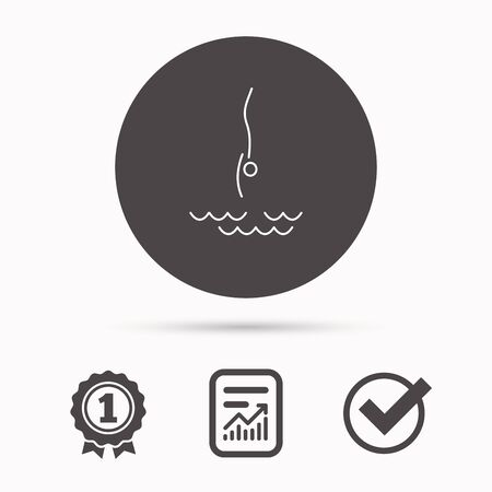 jumping into water: Diving icon. Jumping into water sign. Professional swimming sport symbol. Report document, winner award and tick. Round circle button with icon. Vector
