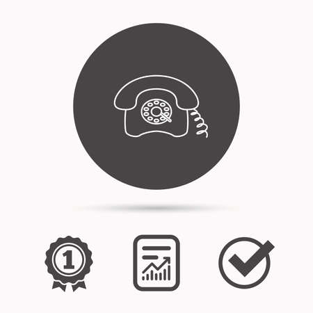 antiquated: Retro phone icon. Old telephone sign. Report document, winner award and tick. Round circle button with icon. Vector Illustration