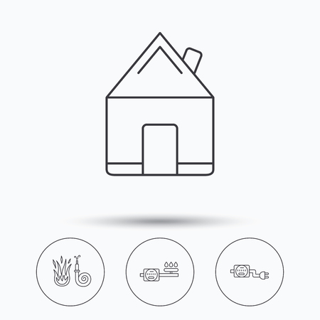 fire plug: Real estate, fire hose and gas counter icons. Electricity counter linear sign. Linear icons in circle buttons. Flat web symbols. Vector