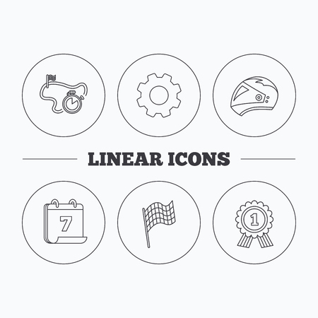 time drive: Race flag, motorcycle helmet and award medal icons. Start or finish flag linear sign. Flat cogwheel and calendar symbols. Linear icons in circle buttons. Vector Illustration