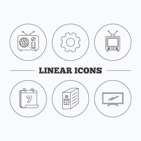 pc case: Retro TV, radio and PC case icons. Computer linear sign. Flat cogwheel and calendar symbols. Linear icons in circle buttons. Vector