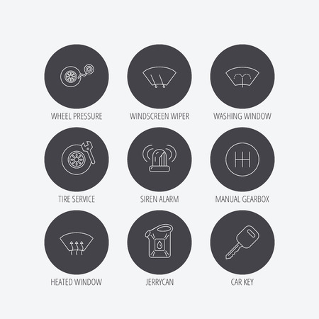 wiper: Manual gearbox, tire service and car key icons. Siren alarm, jerrycan and wheel pressure linear signs. Window washing, wiper and heated icons. Linear icons in circle buttons. Flat web symbols. Vector Illustration