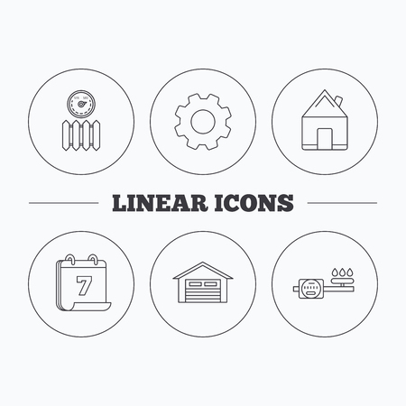 gas radiator: Real estate, garage and heat radiator icons. Gas counter linear sign. Flat cogwheel and calendar symbols. Linear icons in circle buttons. Vector Illustration