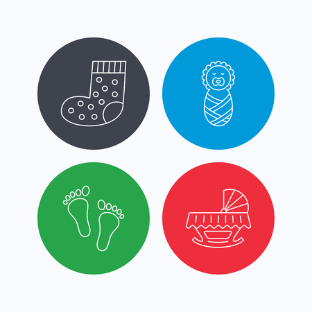 newborn footprint: Footprint, cradle and newborn baby icons. Socks linear sign. Linear icons on colored buttons. Flat web symbols. Vector