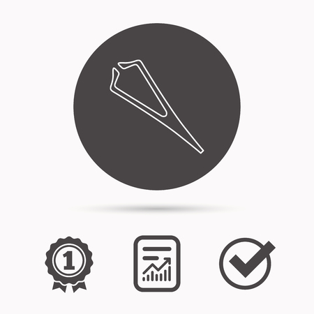 tweezer: Medical tweezers icon. Cosmetic equipment sign. Report document, winner award and tick. Round circle button with icon. Vector