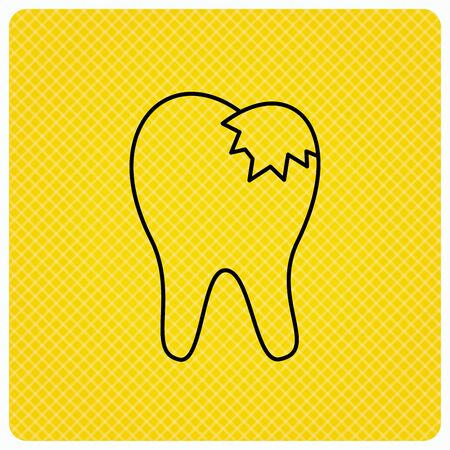 fillings: Dental fillings icon. Tooth restoration sign. Linear icon on orange background. Vector