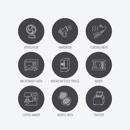 coffee blender: Microwave oven, hair dryer and blender icons. Refrigerator fridge, coffee maker and toaster linear signs. Ventilator, curling iron and waffle-iron icons. Linear icons in circle buttons. Flat web symbols. Vector Illustration