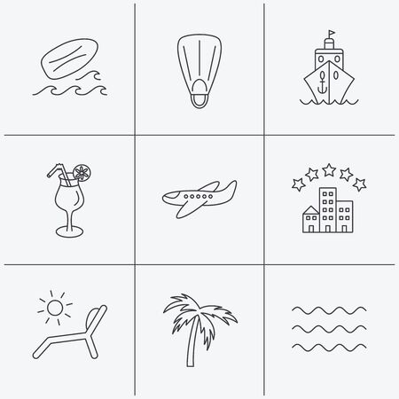 flippers: Cruise, waves and cocktail icons. Hotel, palm tree and surfboard linear signs. Airplane, deck chair and flippers flat line icons. Linear icons on white background. Vector Illustration
