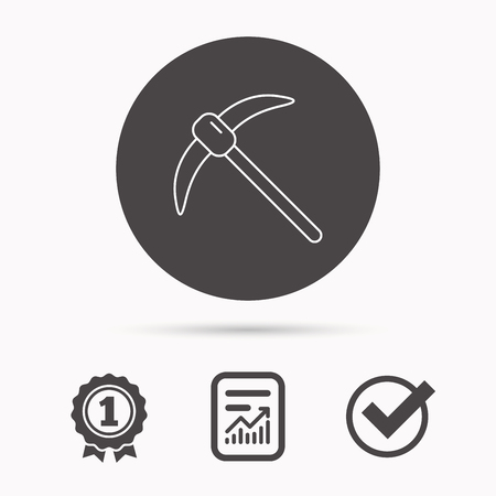 mattock: Mining tool icon. Pickaxe equipment sign. Minerals industry symbol. Report document, winner award and tick. Round circle button with icon. Vector Illustration