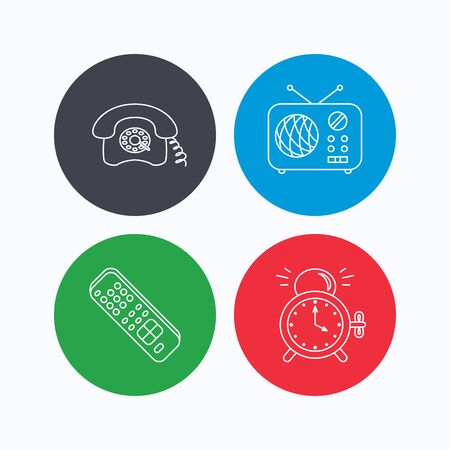 clock radio: Retro phone, radio and TV remote icons. Alarm clock linear sign. Linear icons on colored buttons. Flat web symbols. Vector Illustration