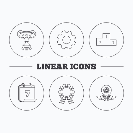 race winner: Winner cup, podium and award medal icons. Race symbol, wheel on fire linear signs. Flat cogwheel and calendar symbols. Linear icons in circle buttons. Vector Illustration