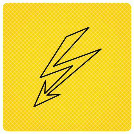 lightening: Lightening bolt icon. Power supply sign. Electricity symbol. Linear icon on orange background. Vector