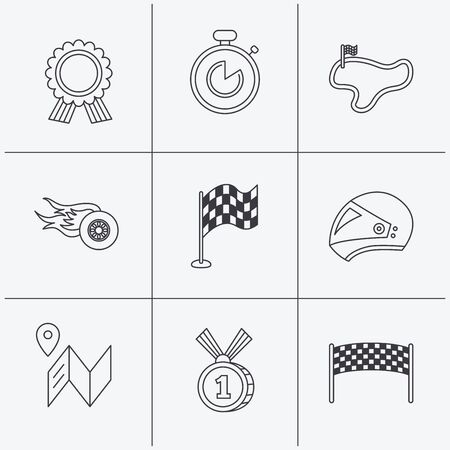 race winner: Race flag and speed icons. Winner medal, motorcycle helmet and timer linear signs. Map navigation flat line icons. Linear icons on white background. Vector Illustration