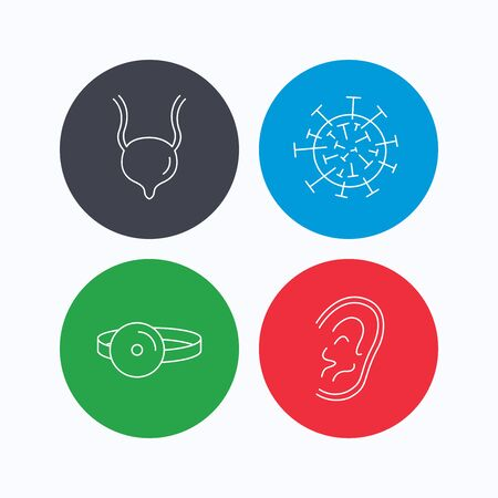 urinary: Virus, urinary bladder and ear icons. Medical mirror linear signs. Linear icons on colored buttons. Flat web symbols. Vector Illustration