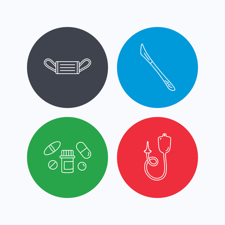 einlauf: Medical mask, pills and scalpel icons. Enema linear sign. Linear icons on colored buttons. Flat web symbols. Vector Illustration