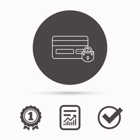 lock block: Blocked credit card icon. Shopping sign. Report document, winner award and tick. Round circle button with icon. Vector