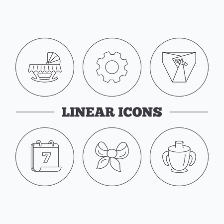 diapers: Baby mug, diapers and cradle bed icons. Bow linear sign. Flat cogwheel and calendar symbols. Linear icons in circle buttons. Vector