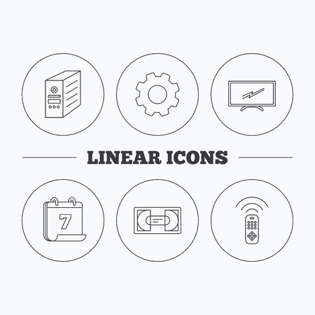 pc case: TV remote, VHS cassette and PC case icons. Widescreen TV linear sign. Flat cogwheel and calendar symbols. Linear icons in circle buttons. Vector Illustration