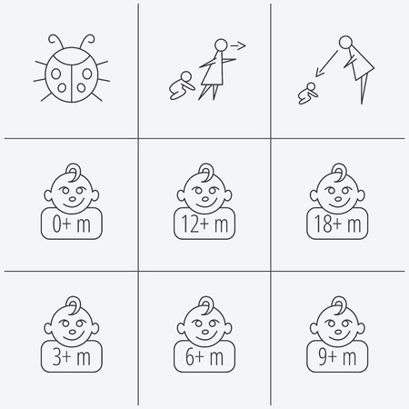 6 9 months: Infant child, ladybug and toddler baby icons. 0-18 months child linear signs. Unattended, parents supervision icons. Linear icons on white background. Vector