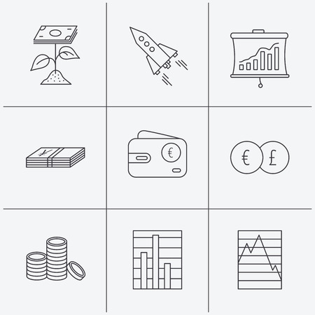 deceleration: Profit investment, cash money and startup rocket icons. Wallet, currency exchange and euro linear signs. Chart, coins and statistics icons. Linear icons on white background. Vector