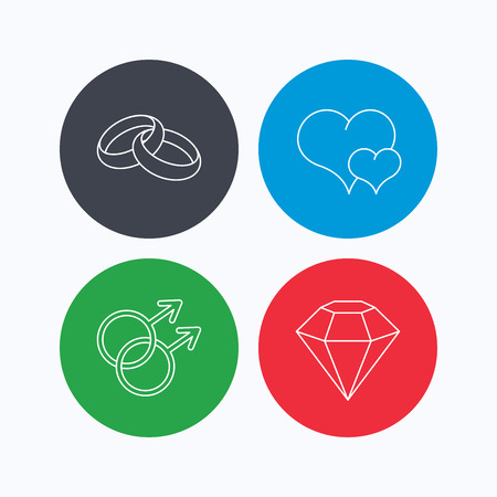 gay love: Love heart, diamond and wedding rings icons. Gay love linear sign. Linear icons on colored buttons. Flat web symbols. Vector