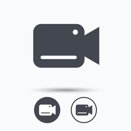 recording: Video camera icon. Film recording cam symbol. Security monitoring. Circle buttons with flat web icon on white background. Vector