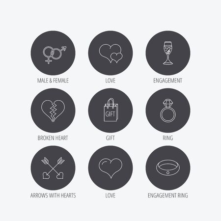 shopping champagne: Love heart, gift box and wedding ring icons. Broken heart and engagement linear signs. Valentine amour arrows, brilliant flat line icons. Linear icons in circle buttons. Flat web symbols. Vector
