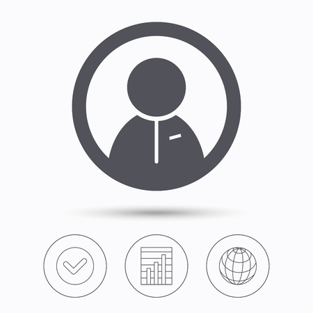 friend chart: User icon. Human person symbol. Check tick, graph chart and internet globe. Linear icons on white background. Vector