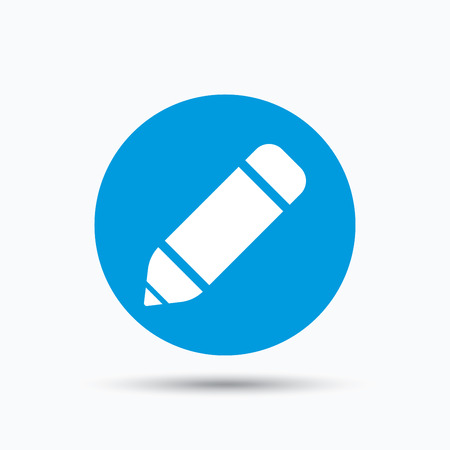 edit icon: Edit icon. Pencil for drawing symbol. Blue circle button with flat web icon. Vector