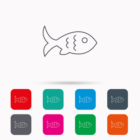 aquaculture: Fish with fin and scales icon. Seafood sign. Vegetarian food symbol. Linear icons in squares on white background. Flat web symbols. Vector Illustration