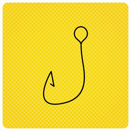 fishhook: Fishing hook icon. Fisherman equipment sign. Angling symbol. Linear icon on orange background. Vector Illustration