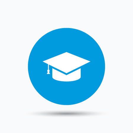 Education icon. Graduation cap symbol. Blue circle button with flat web icon. Vector Illustration