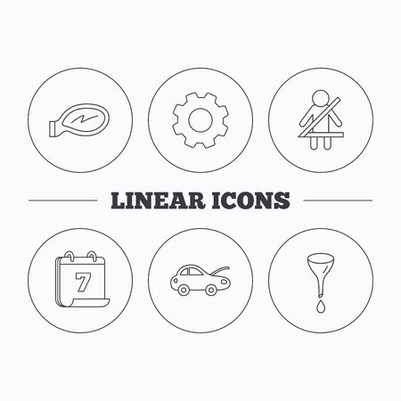 fasten: Car mirror repair, oil change and seat belt icons. Fasten seat belt linear sign. Flat cogwheel and calendar symbols. Linear icons in circle buttons. Vector Illustration