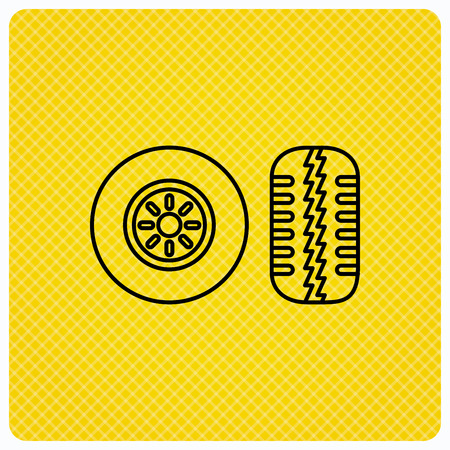 flaring: Tire tread icon. Car wheel sign. Linear icon on orange background. Vector