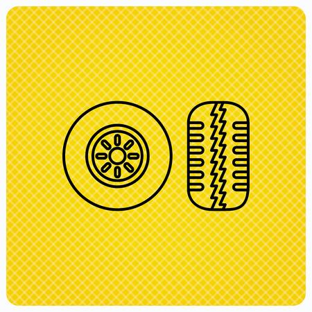 tread: Tire tread icon. Car wheel sign. Linear icon on orange background. Vector