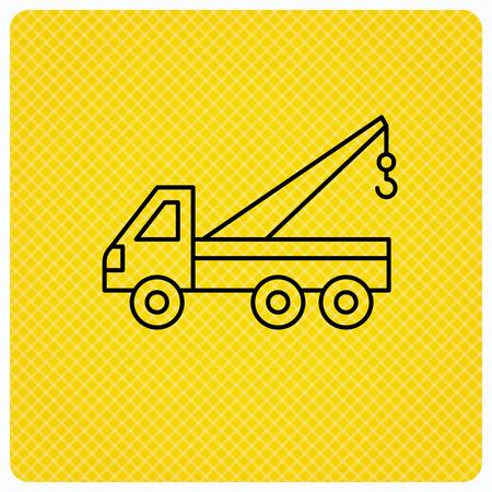 evacuate: Evacuator icon. Evacuate parking transport sign. Linear icon on orange background. Vector Illustration