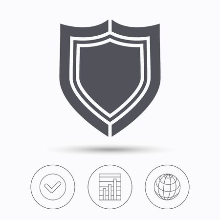 internet globe: Shield protection icon. Defense equipment symbol. Check tick, graph chart and internet globe. Linear icons on white background. Vector