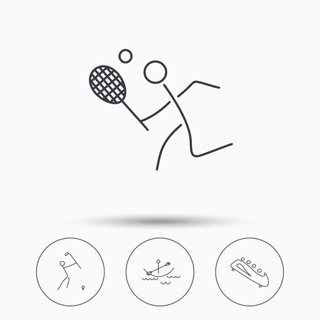 bobsled: Boating, tennis and golf icons. Bobsled linear sign. Linear icons in circle buttons. Flat web symbols. Vector Illustration