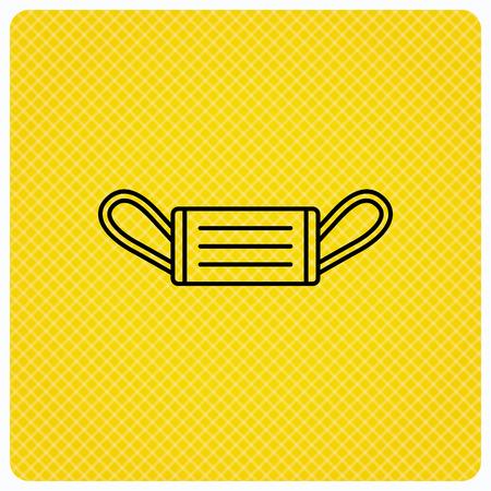 flu prevention: Medical mask icon. Epidemic sign. Illness protection symbol. Linear icon on orange background. Vector Illustration
